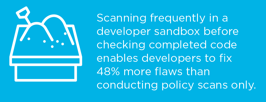 Developer sandbox frequent scanning
