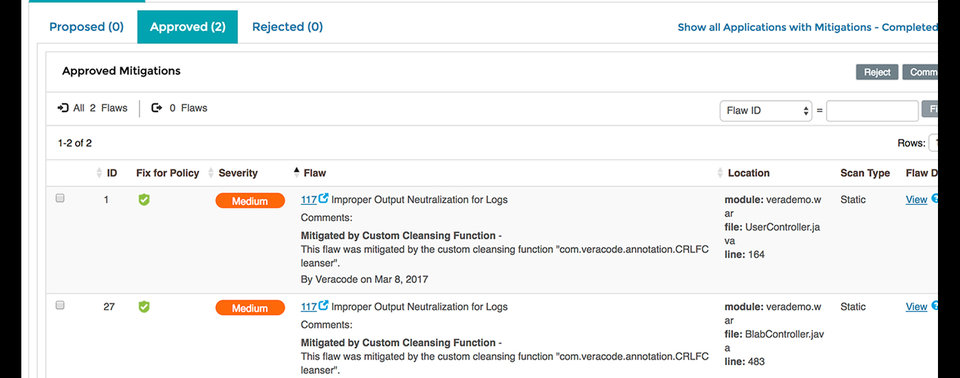 Veracode Custom Cleansers speed scan results.