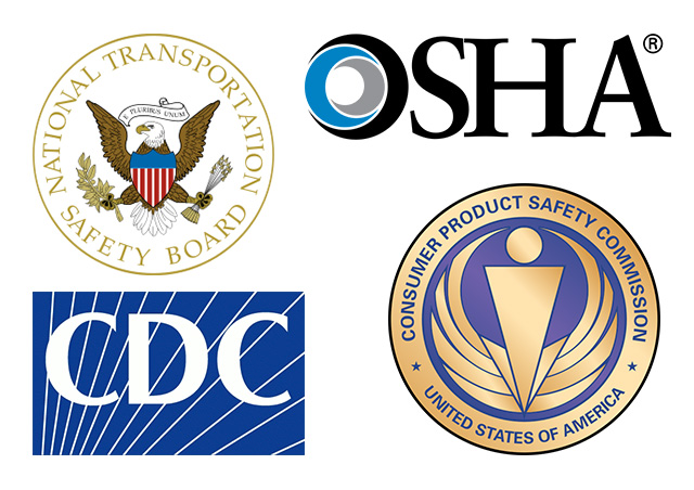 Logos of Government organizations that collect and share information publicly.